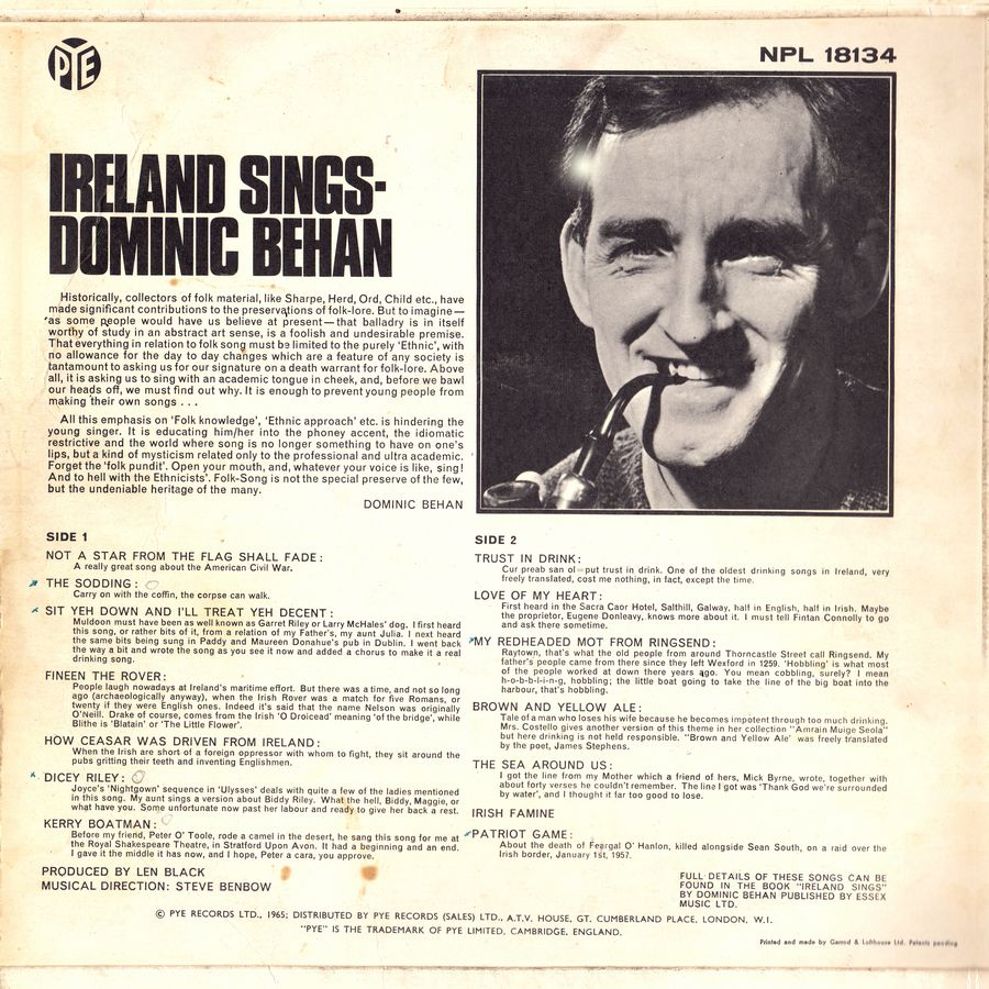 Terre Celtiche blog: Retro Copertina dell'album Ireland Sings di Dominic Behan