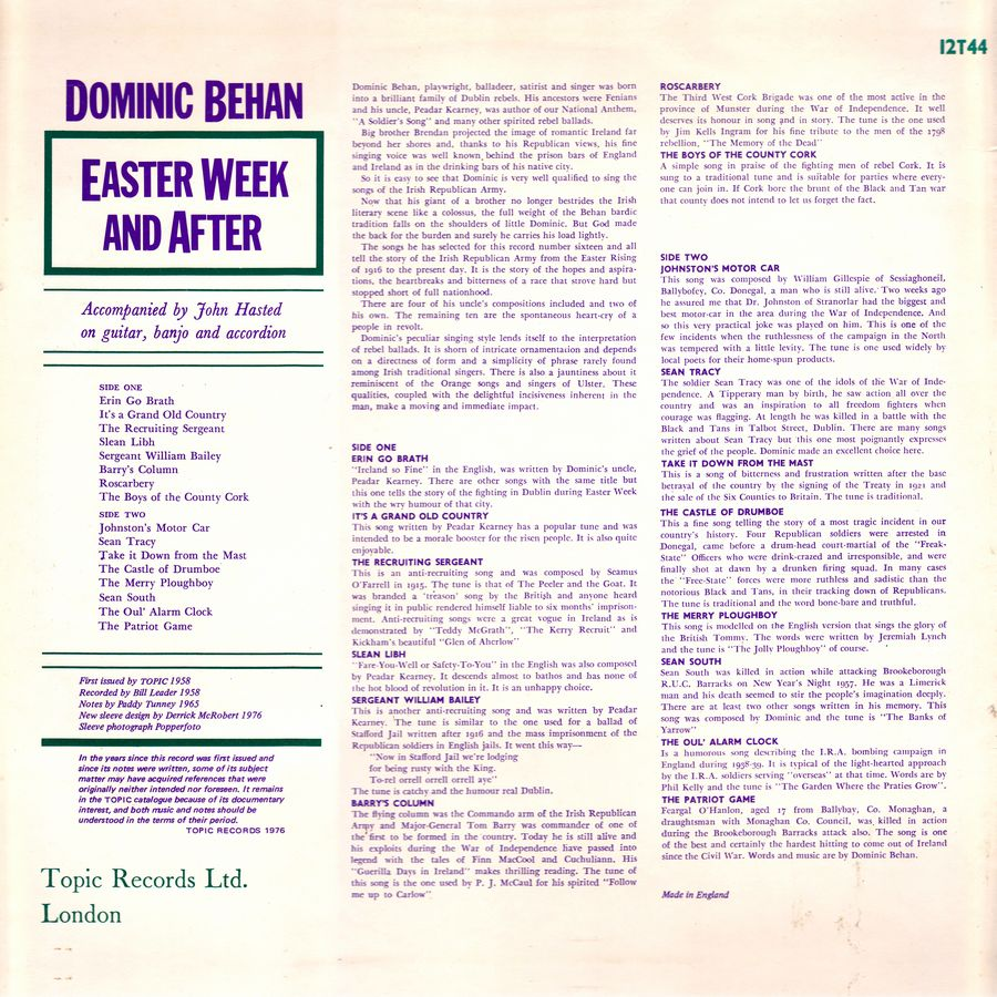 Dominic Behan - Easter Weekend and After
